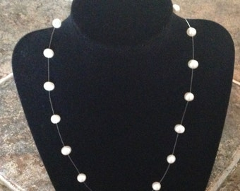 Vintage Sterling Silver Genuine Pearl Illusion Necklace