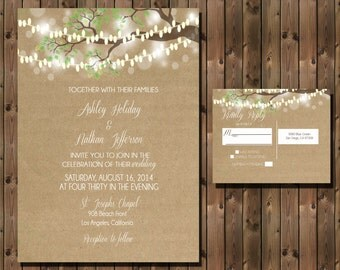 Rustic Wedding Invitation with Lights in Tree on Kraft Paper Background, Digital File