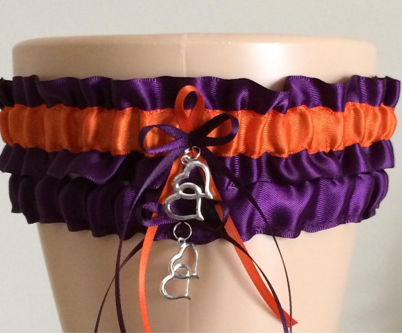Plum Purple And Orange Wedding Garter Set Bridal Garter Set