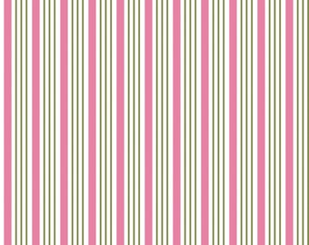 Riley Blake Fabric by the yard -Song Bird -  Pink Stripes