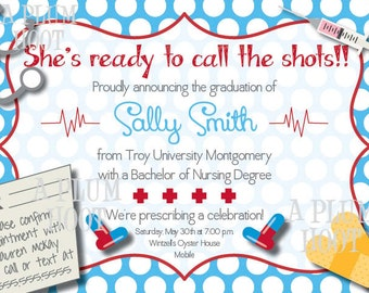 Medical or Nursing School Graduation Party Invitation (Personalized, DIY, 5X7 Printable)