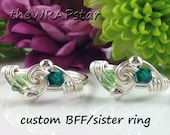 Birthstone Friendship Rings Personalized Ring Friendship Jewelry BFF Ring Gifts for Best Friend Rings ITEM0300