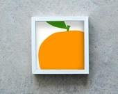 Orange art print, orange poster, fruit wall art, kitchen decoration, orange square art print, modern art