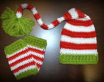 Red, White & Green Long tail Elf Hat  and Legwarmers Handmade Christmas Crochet Baby Beanie Hat Photo Prop Custom Made, x-mas