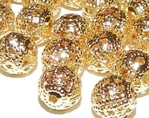 30pcs 8mm GOLD Filigree Spacer Beads Plated DIY Jewelry Beads & Beading Supplies FREE Combined Shipping Other colors availlable