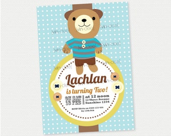 Teddy Bear Blue Birthday Invitation - DIY PRINTABLE