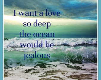 Fridge Magnet A love so Deep the Ocean would be Jealous romantic waves relationship