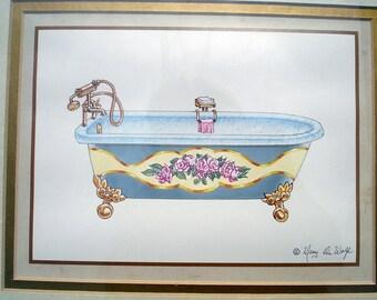 Bathroom Art Original Double Matted Unframed by Mary DeWolfe
