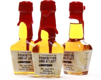 Custom Mini Bottle Labels Wedding Favors Maker's Mark Prohibition Labels