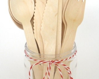 Wooden Utensils…24 ct....Crafting Spoons Forks Knives Weddings Parties Banquets Disposable Wooden Cultery Utensils
