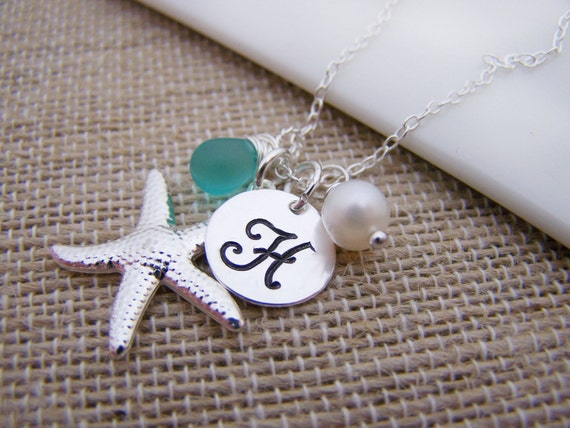 Initial Hand Stamped Silver Starfish Pearl Seaglass Sterling Silver Necklace / Gift for her