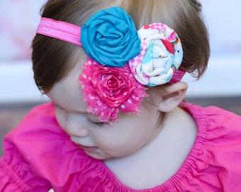 Turquoise Hot Pink Print Rosette Shabby Chiffon Flower Elastic Headband