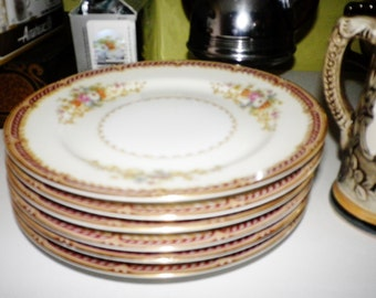Set of 6 Noritake Made in Occupied Japan Bread & Butter Plates Mystery #179 China Floral Dish Chinoiserie Asian Round Gold Rim Edge Oriental