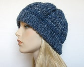 Women's Crochet Hat Blue Denim Wool Blend Yarn, Knit Ribbing - Crocheted Winter Cap - Handmade
