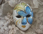 Jester Face Mask Brooch White Porcelain Mardi Gras Style Painted Blue and Gold With Silver Glitter - MyLittleSomethings
