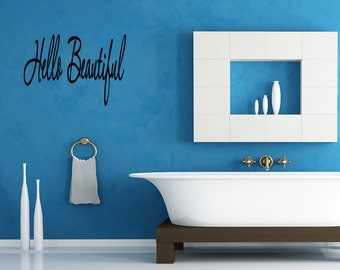 Wall Quotes Hello Beautiful Removable Wall Sticker Wall Decal Quote (X67)