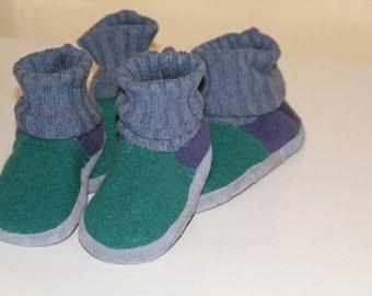 Boiled wool slippers, Youth sz. U|S 1,5 , GreenNavy.
