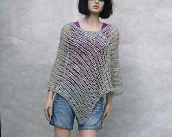 Solange II - beautiful, summer, spring, gray-colored universal handmade poncho