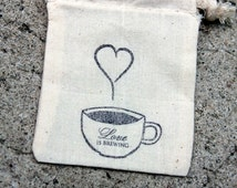coffee wedding favors, rustic wedding favor set of 25, muslin tea favor bags, burlap and lace wedding, coffee favor bags, Barn Wedding,