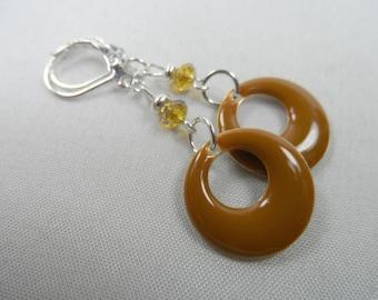 Brown Enameled Double-sided Charm Leverback Earrings - 2 inch length in silvertone
