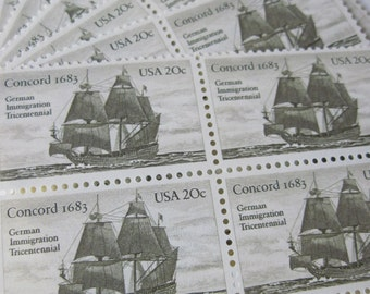 Out To Sea... Unused Vintage Postage Stamps ... 50 Twenty Cent Stamps