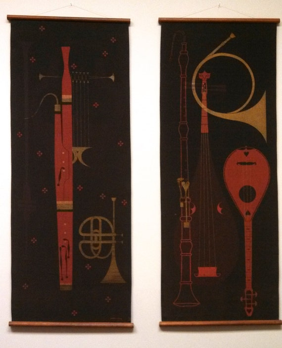 Wall Decor Ross : Mid century ross littell pair of screen printed wall hanging