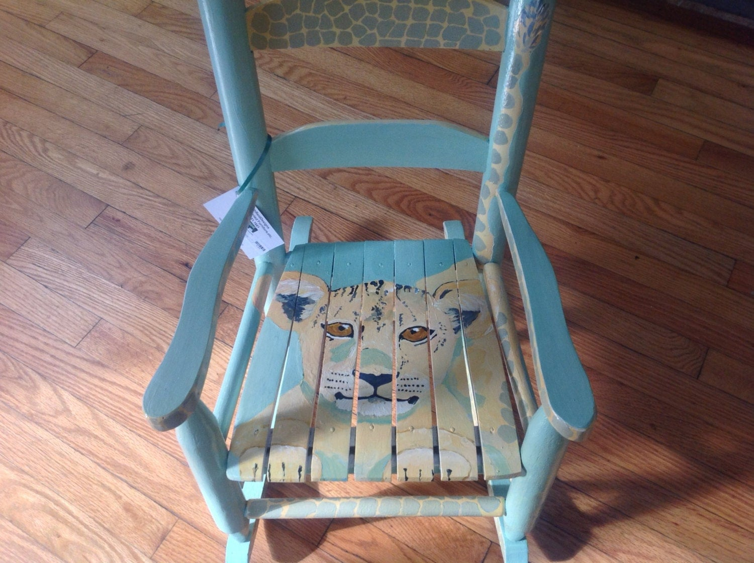 Hand Painted Lion Cub Rocking Chair