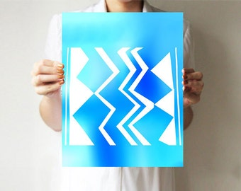 Tribal - Art print - ZigZag - Wall decor - Acqua blue -