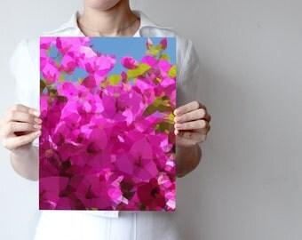 primavera art print- Geometric - nature art - pink, rose