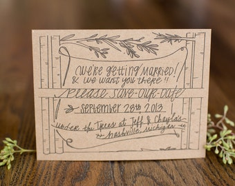 Tall Trees Save-The-Dates; Rustic; Wedding; Invitation; Recycled; Custom; Original; Woods;Outdoor; Nature; Hand Lettered; Illustrated