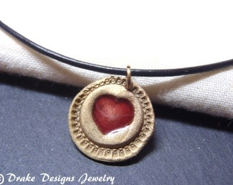bronze wax seal heart necklace