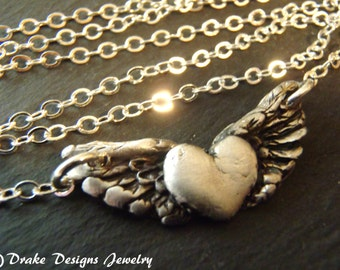 Angel wing necklace winged heart pendant pmc fine silver sterling