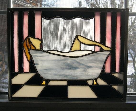 Art deco stained glass window panel bathtub woman bathroom for Art deco glass windows