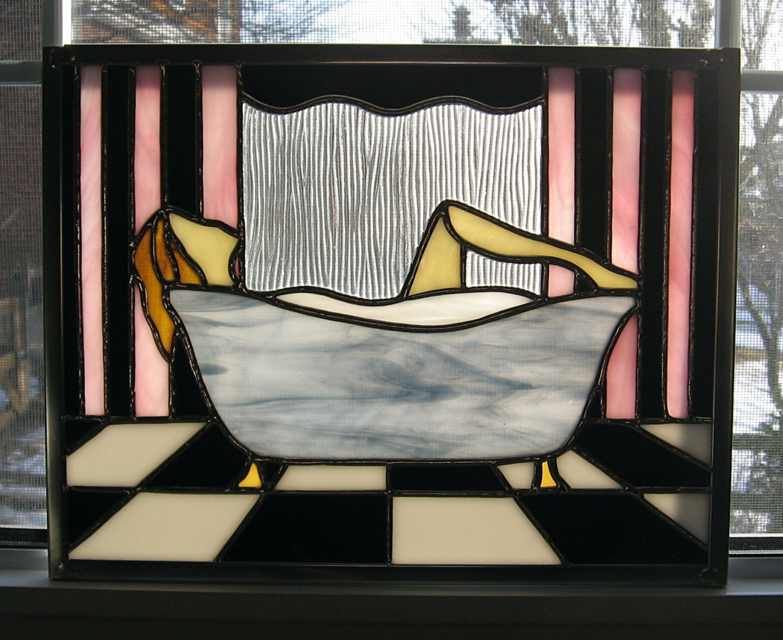 Art deco stained glass window panel bathtub woman bathroom for Art glass windows