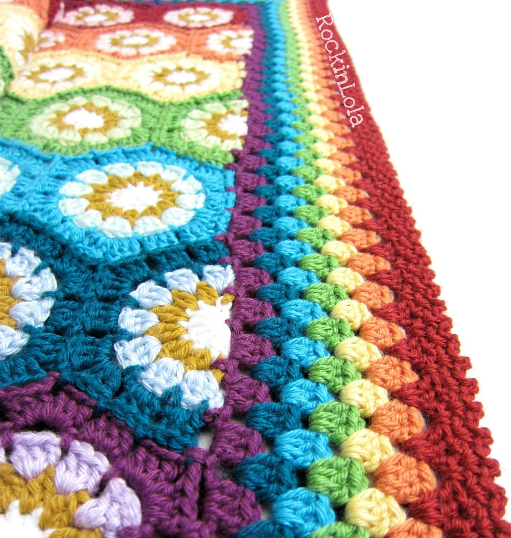 Crochet Rainbow Baby Blanket Pattern By Flavia : rainbow baby blanket rainbow hexagon baby blanket crochet