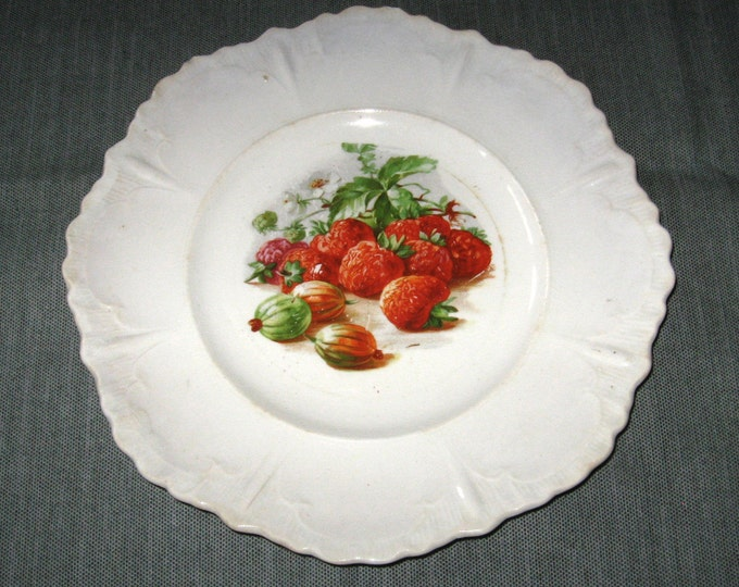 10 1/8 inch Antique Whiteware Dinner Plate, Red Strawberries, Gooseberries, ca. 1910s