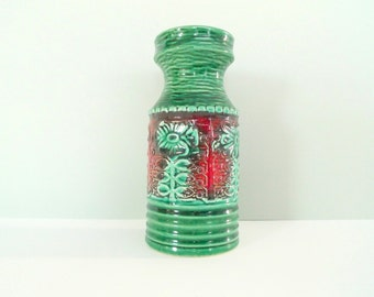 West German Vase - Retro 70s Green Red 558 20