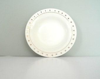 Figgjo Flint soup bowl - Norway 1950s White Gold Stars Mid Century Modern