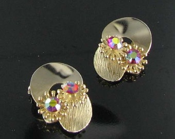 Pretty Pink Aurora Borealis AB Flower Clip Back Earrings