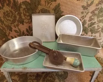 SALE!! Vintage Toy Egg Beater  Cream and Green Hand Mixer Aluminum Utencils Cookie Sheet Cake Pie Pan Loaf pan