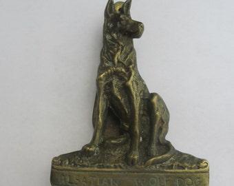 Vintage Large Brass Door Knocker Alsation Wolf Dog