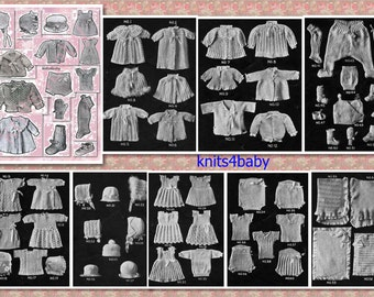150 Rare Vintage Baby KNITTING & CROCHET Patterns circa 1920's INSTANT Download