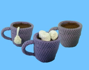 Coffee Tea & Cocoa with Marshmallows 3 in 1 Crochet Patterns PDF