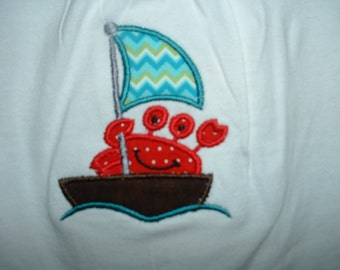 Toddler Girl's Appliqued Sailing Crab Shirt 18-24 Months