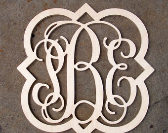 26 unpainted wooden monogram three letter monogram vine script monogram monogram wall hanging monogram door hanger wooden letters