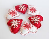 Set of 6 Christmas Hanging Fabric Love Heart with Snowflake in Red and White,Winter Hearts Ornament, Wedding Favor, Christmas Red Hearts