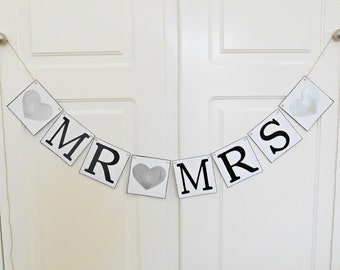 FREE SHIPPING, Mr & Mrs baner, Wedding Banner, Bridal shower banner, Engagement party decoration, Photo prop, Bachelorette party, Silver