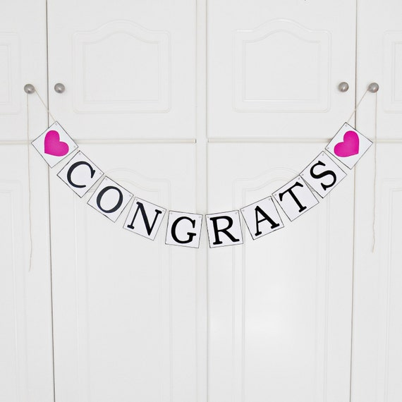 FREE SHIPPING, Congrats banner, Graduation decorations, Bridal shower banner, Wedding banner, Engagement party decorations, Hot pink hearts