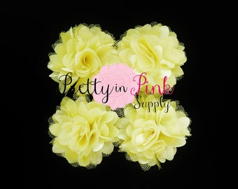 Pale Yellow Satin Mesh Flowers Set of 4...Mini Satin Mesh Flowers...Satin Flowers..Tulle Flowers...Silk Flower
