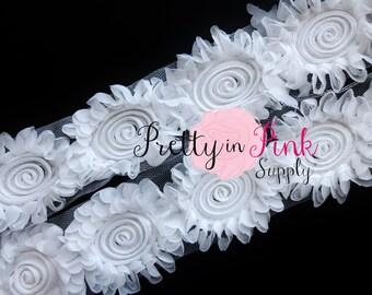 CHIFFON SWIRL WHITE Shabby Rose Trim 1 Yard...Shabby Flowers...Shabby Flower Rose Trim...Chiffon Flower...Shabby Trim...Rose Trim